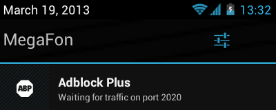 Adblock Plus notification